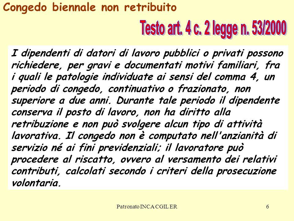 Testo art. 4 c. 2 legge n. 53/2000 Congedo biennale non retribuito