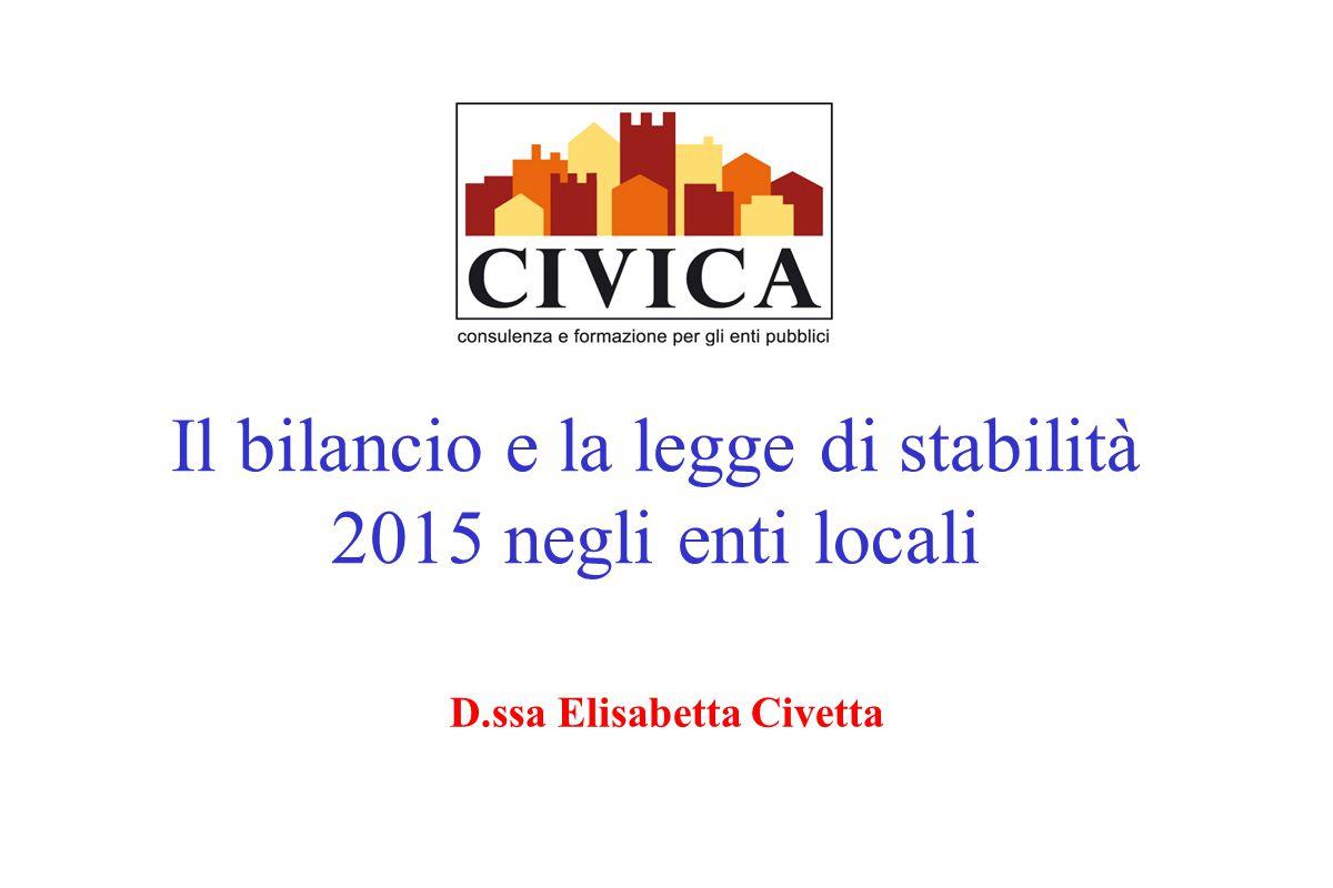 Il bilancio e la legge di stabilità 2015 negli enti locali
