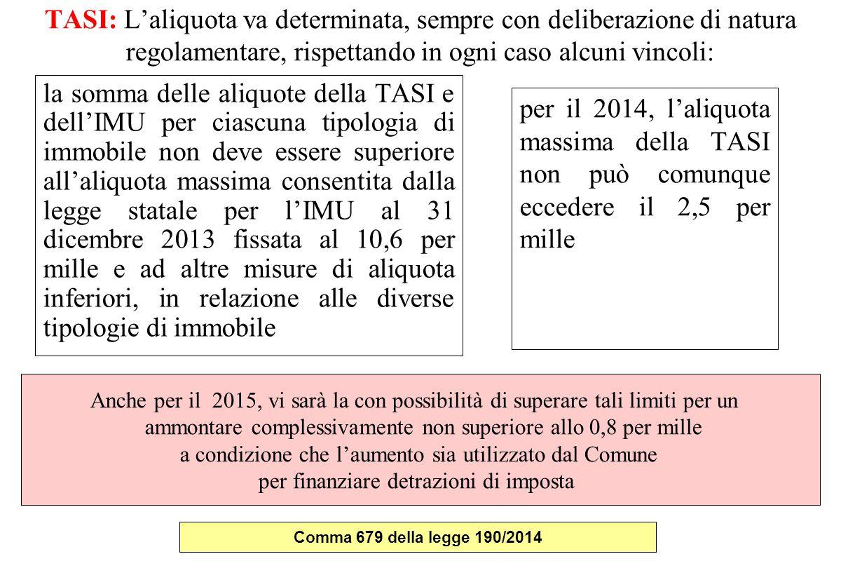 TASI: L'aliquota va determinata, sempre con deliberazione di natura regolamentare, rispettando in ogni caso alcuni vincoli: