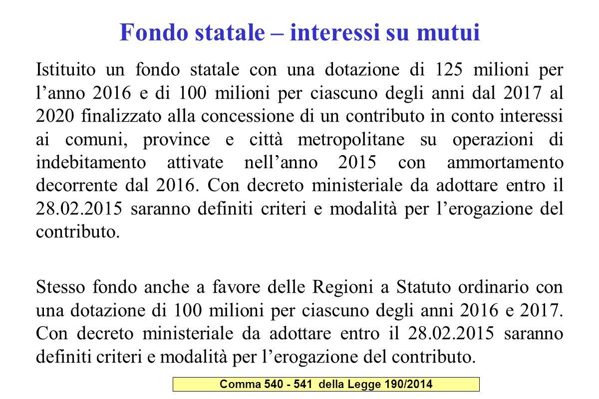 Fondo statale – interessi su mutui