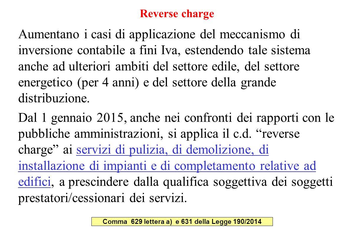 Comma 629 lettera a) e 631 della Legge 190/2014