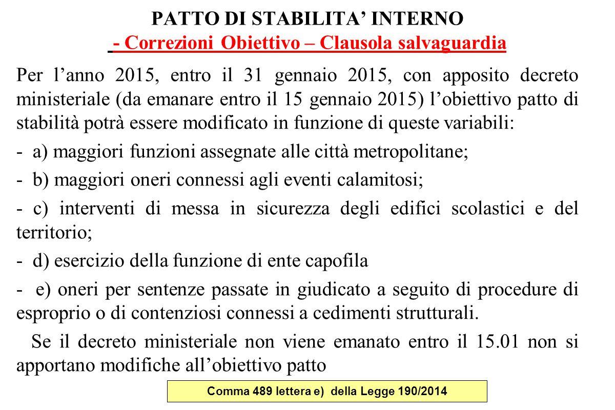 Comma 489 lettera e) della Legge 190/2014