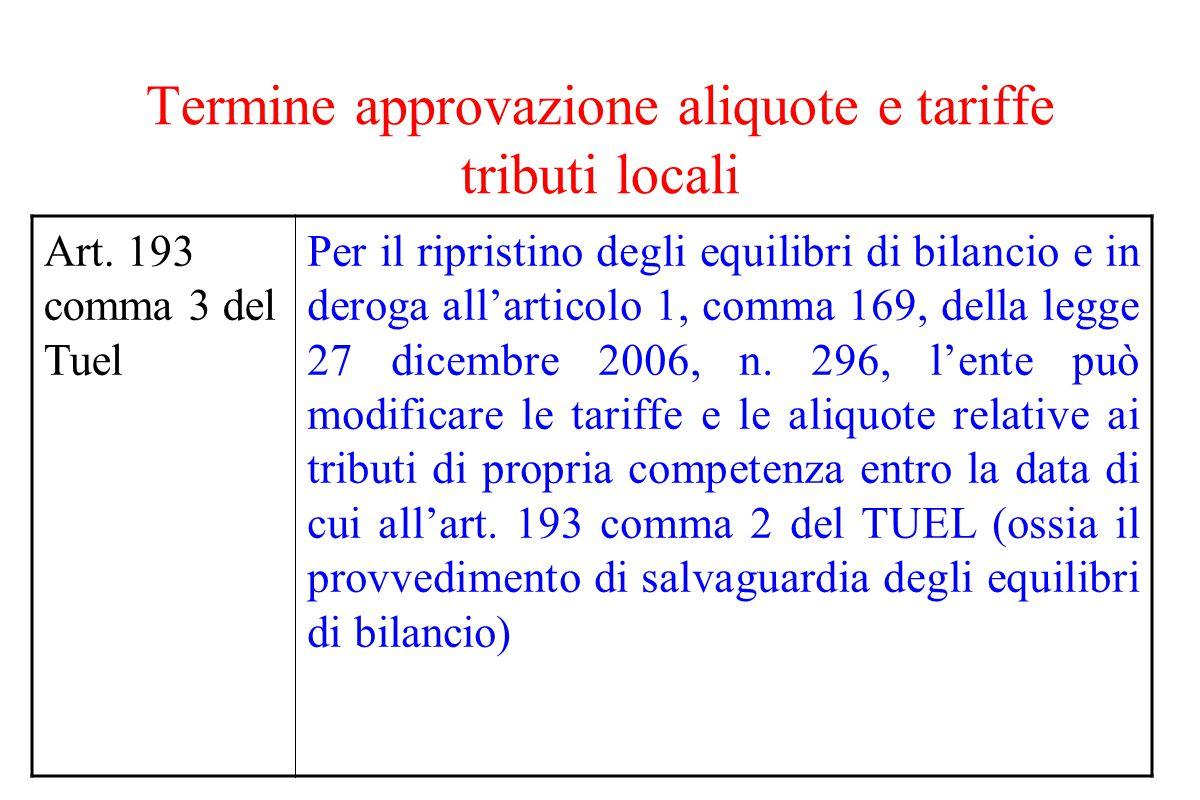 Termine approvazione aliquote e tariffe tributi locali