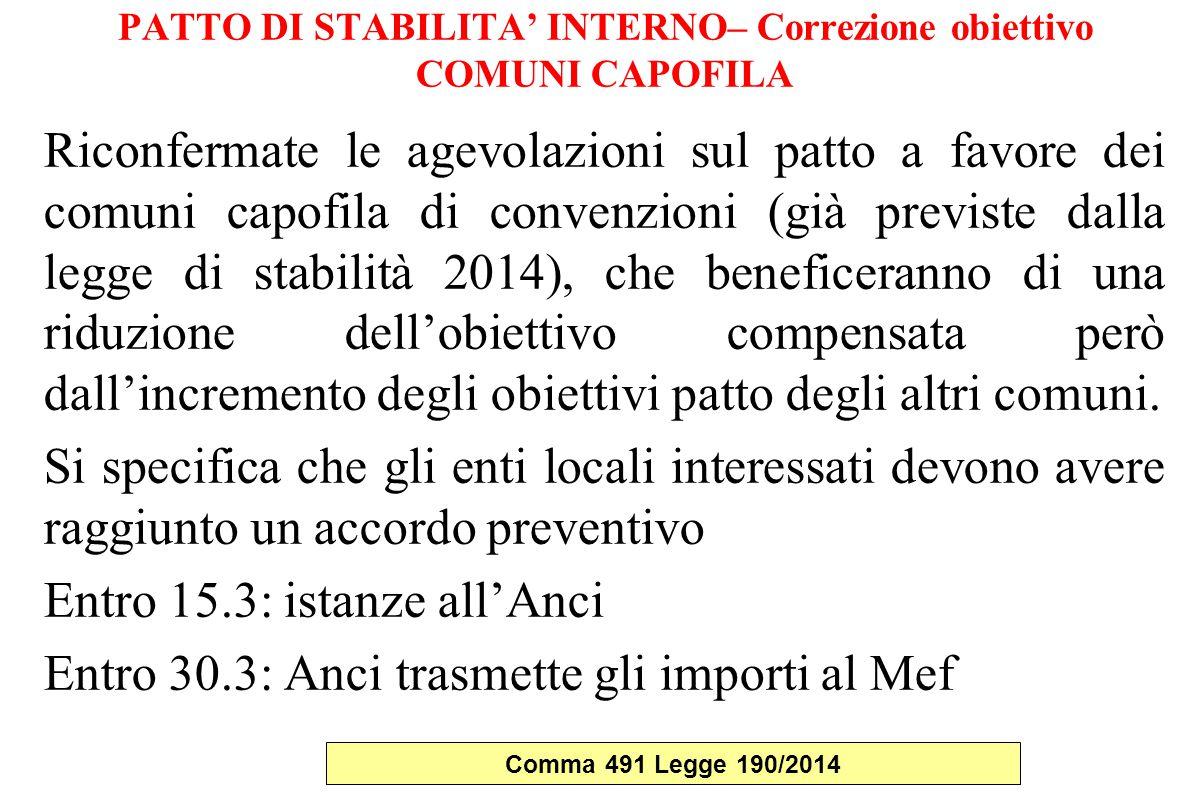 PATTO DI STABILITA' INTERNO– Correzione obiettivo COMUNI CAPOFILA