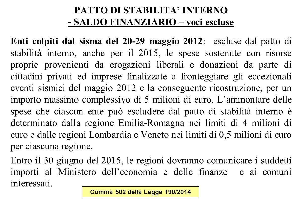 PATTO DI STABILITA' INTERNO - SALDO FINANZIARIO – voci escluse