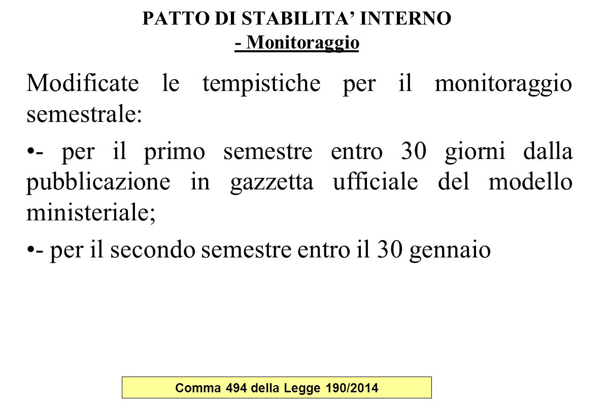 PATTO DI STABILITA' INTERNO - Monitoraggio