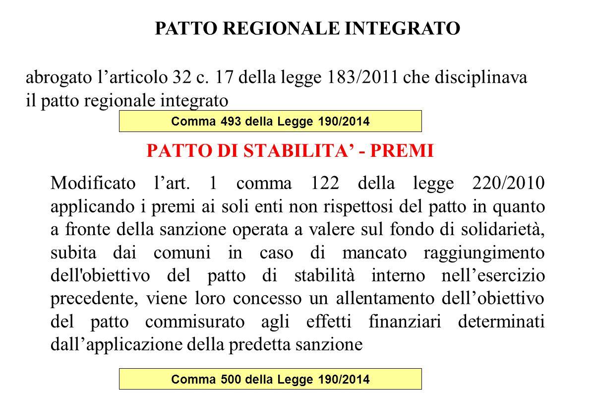 PATTO DI STABILITA' - PREMI