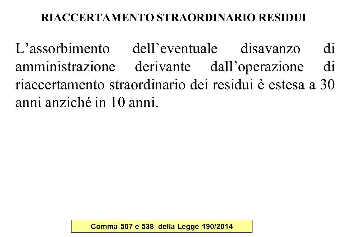 RIACCERTAMENTO STRAORDINARIO RESIDUI