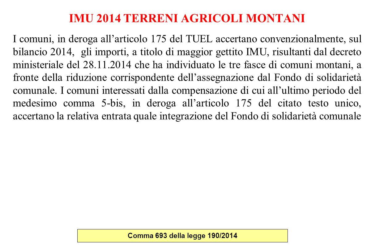 IMU 2014 TERRENI AGRICOLI MONTANI