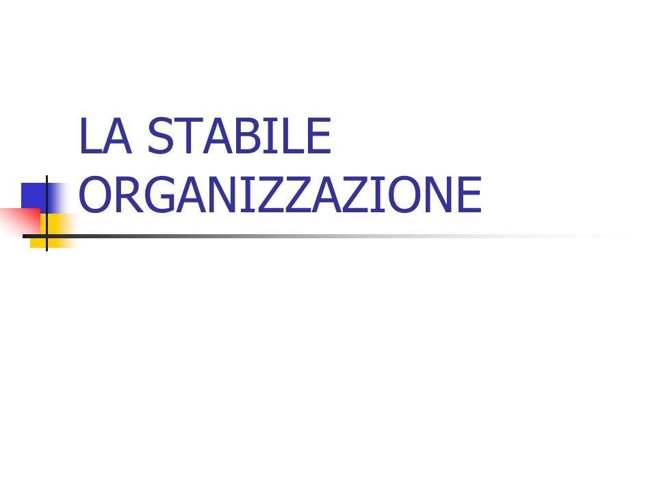 LA STABILE ORGANIZZAZIONE