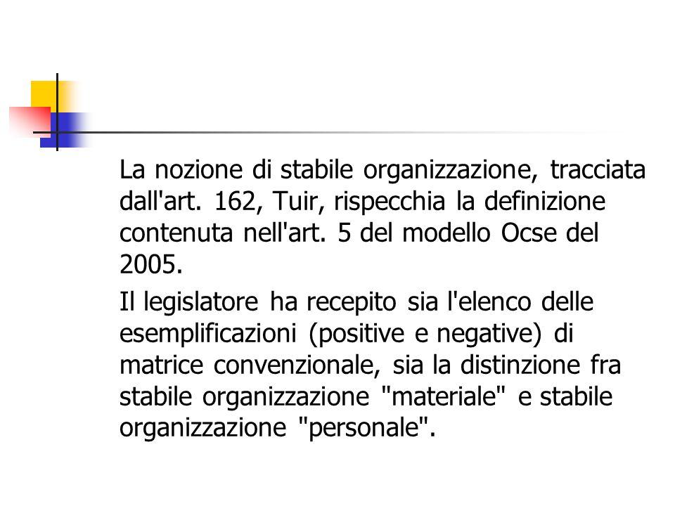 La nozione di stabile organizzazione, tracciata dall art