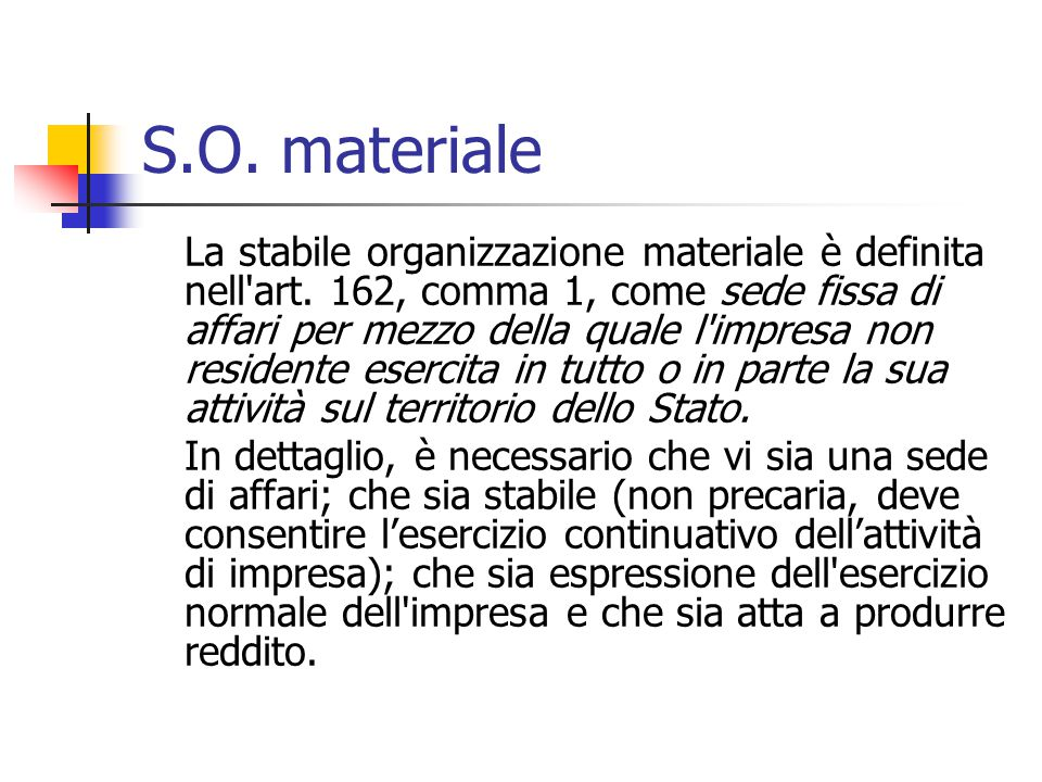 S.O. materiale