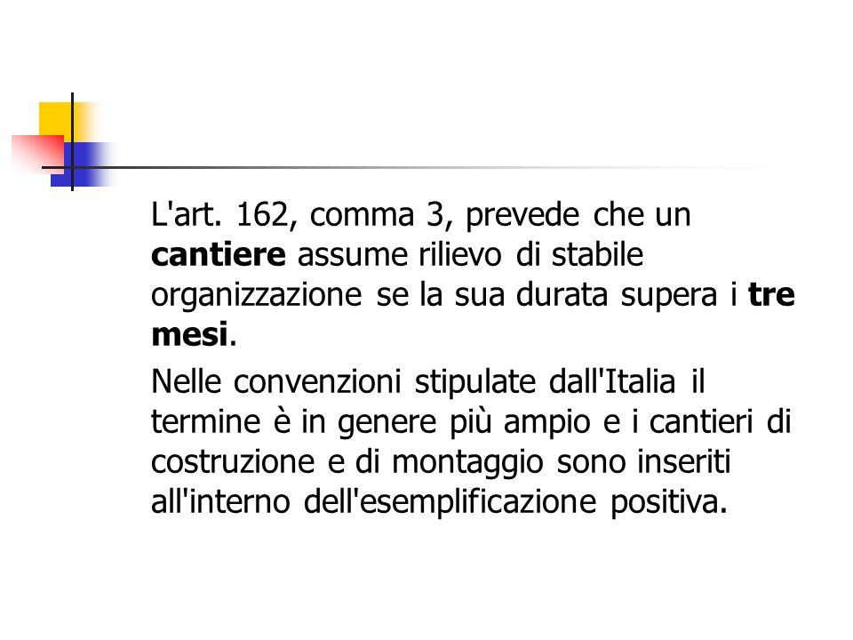 L art. 162, comma 3, prevede che un cantiere assume rilievo di stabile organizzazione se la sua durata supera i tre mesi.