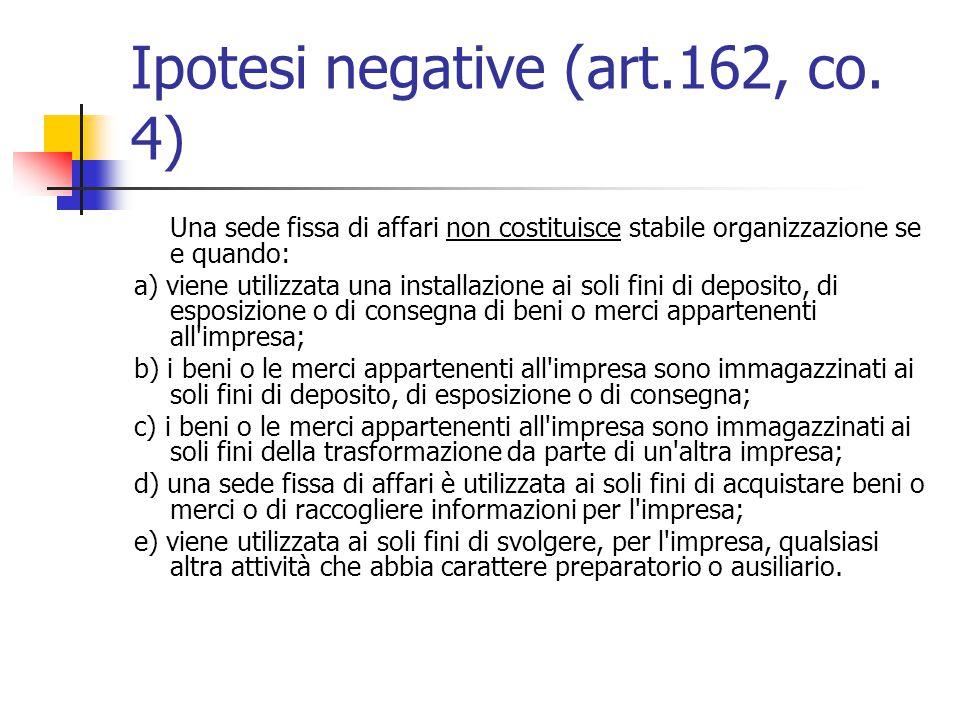 Ipotesi negative (art.162, co. 4)