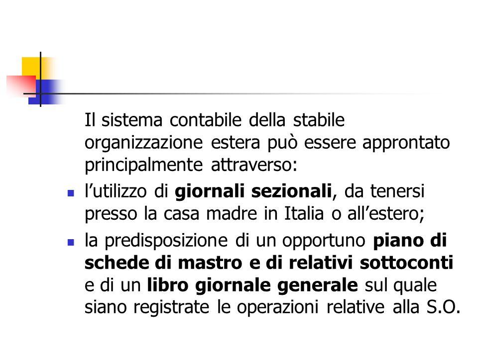 Il sistema contabile della stabile organizzazione estera può essere approntato principalmente attraverso: