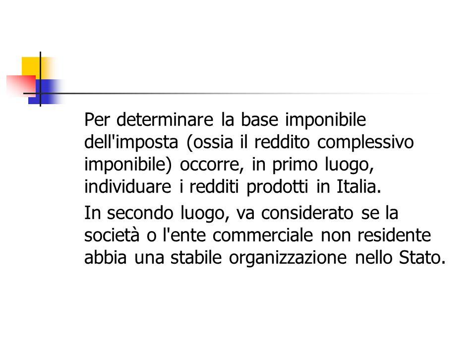 Per determinare la base imponibile dell imposta (ossia il reddito complessivo imponibile) occorre, in primo luogo, individuare i redditi prodotti in Italia.