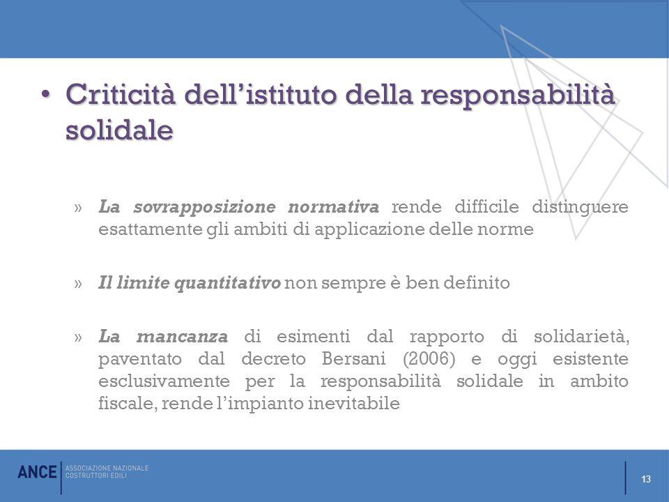 Criticità dell'istituto della responsabilità solidale