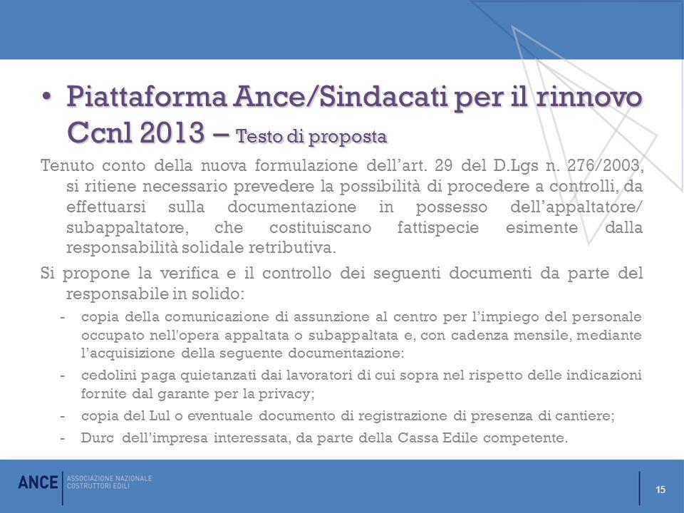 Piattaforma Ance/Sindacati per il rinnovo Ccnl 2013 – Testo di proposta