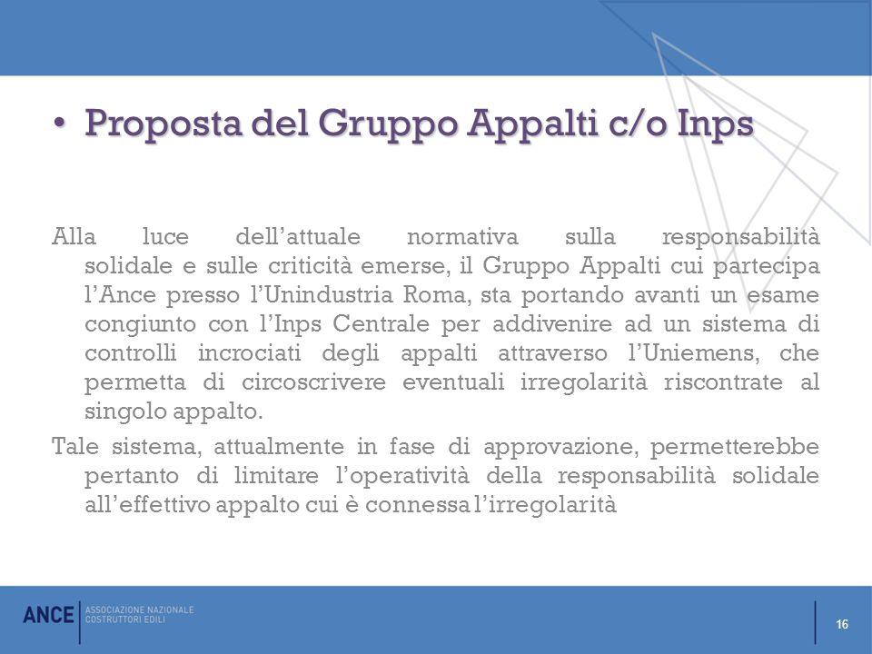 Proposta del Gruppo Appalti c/o Inps