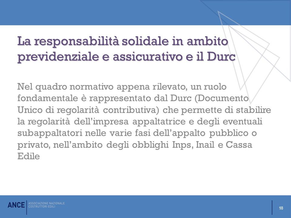La responsabilità solidale in ambito previdenziale e assicurativo e il Durc