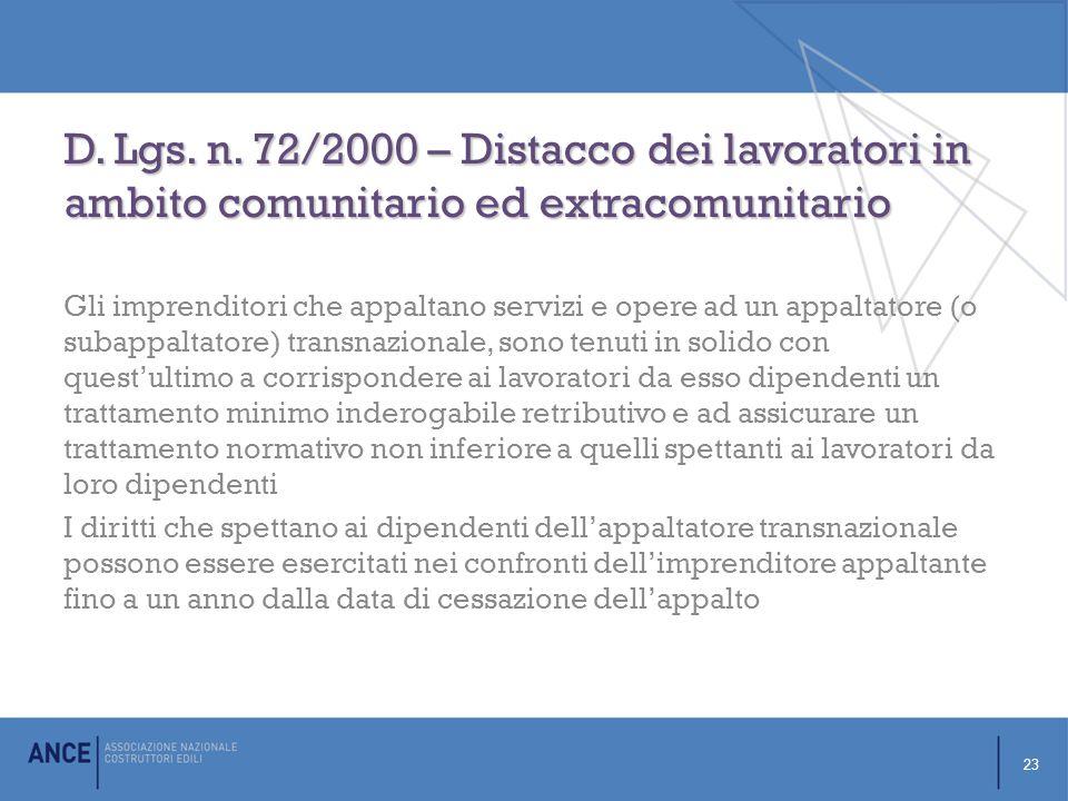 D. Lgs. n. 72/2000 – Distacco dei lavoratori in ambito comunitario ed extracomunitario
