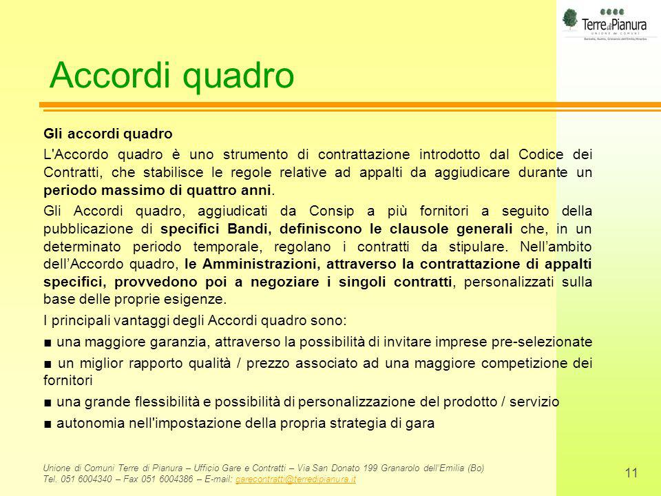 Accordi quadro Gli accordi quadro