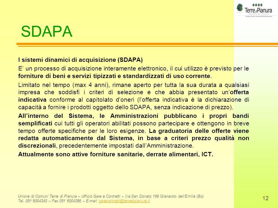SDAPA I sistemi dinamici di acquisizione (SDAPA)
