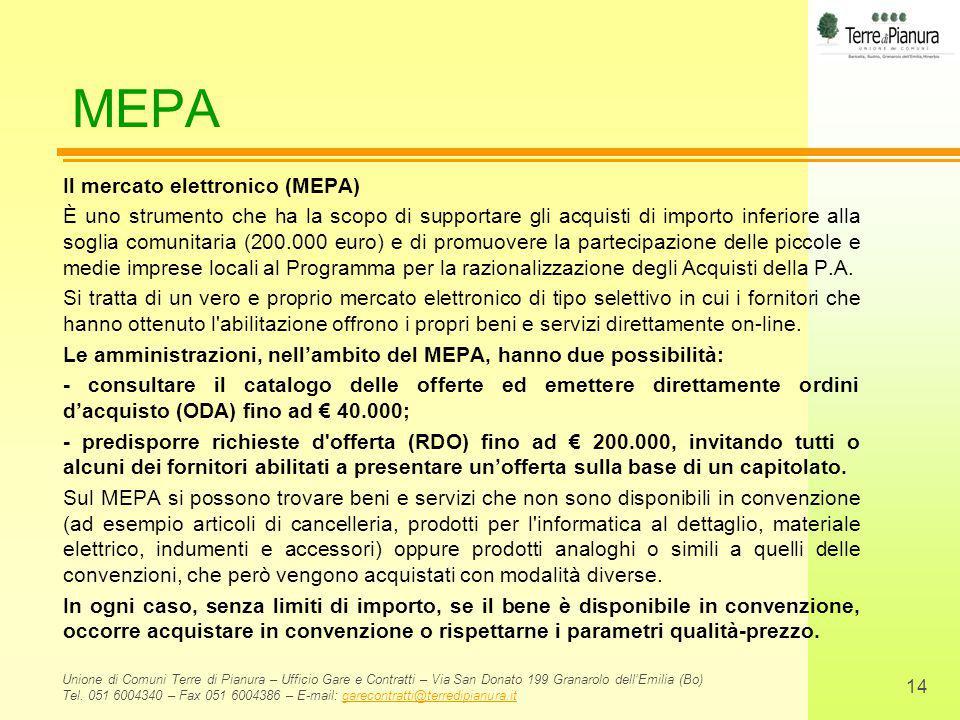 MEPA Il mercato elettronico (MEPA)