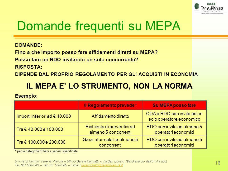 Domande frequenti su MEPA