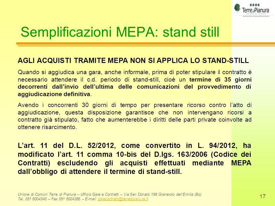 Semplificazioni MEPA: stand still