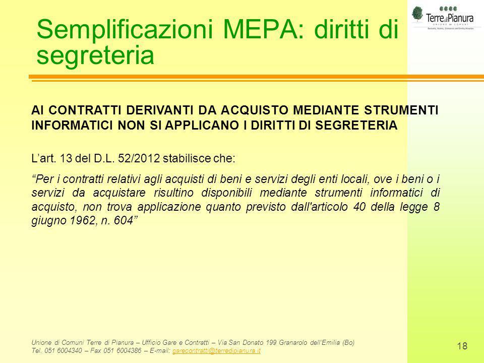 Semplificazioni MEPA: diritti di segreteria