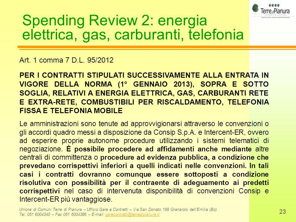 Spending Review 2: energia elettrica, gas, carburanti, telefonia