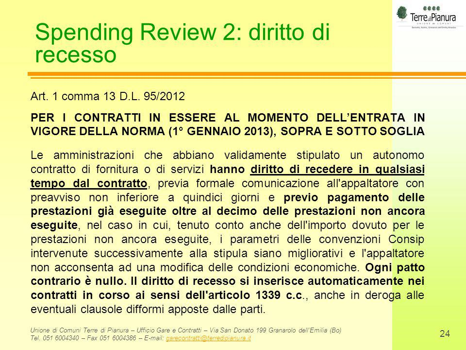 Spending Review 2: diritto di recesso