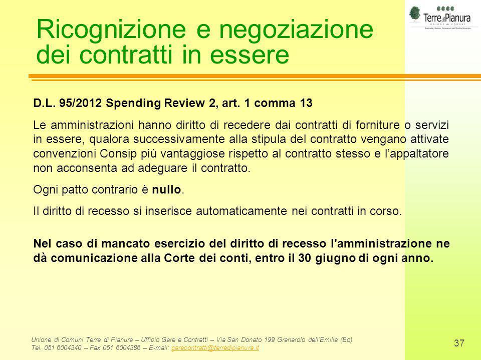 Ricognizione e negoziazione dei contratti in essere