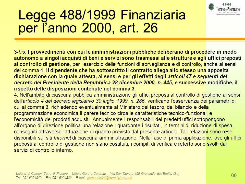 Legge 488/1999 Finanziaria per l'anno 2000, art. 26