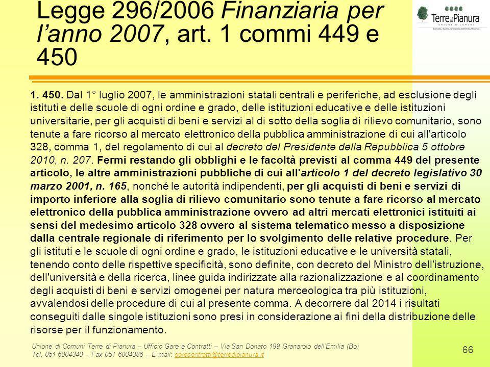 Legge 296/2006 Finanziaria per l'anno 2007, art. 1 commi 449 e 450