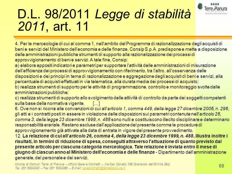 D.L. 98/2011 Legge di stabilità 2011, art. 11