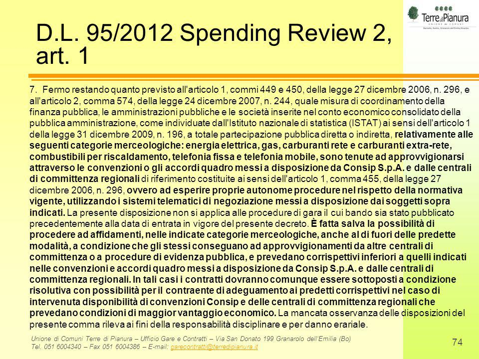 D.L. 95/2012 Spending Review 2, art. 1