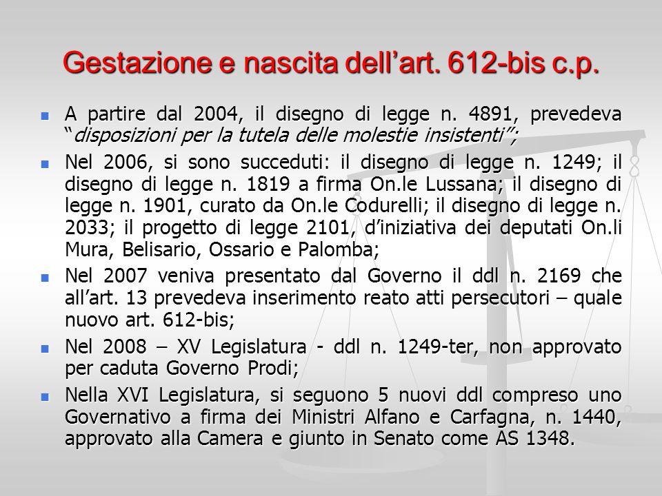 Gestazione e nascita dell'art. 612-bis c.p.