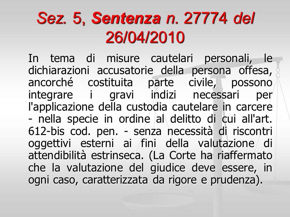 Sez. 5, Sentenza n. 27774 del 26/04/2010