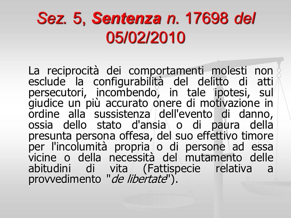 Sez. 5, Sentenza n. 17698 del 05/02/2010