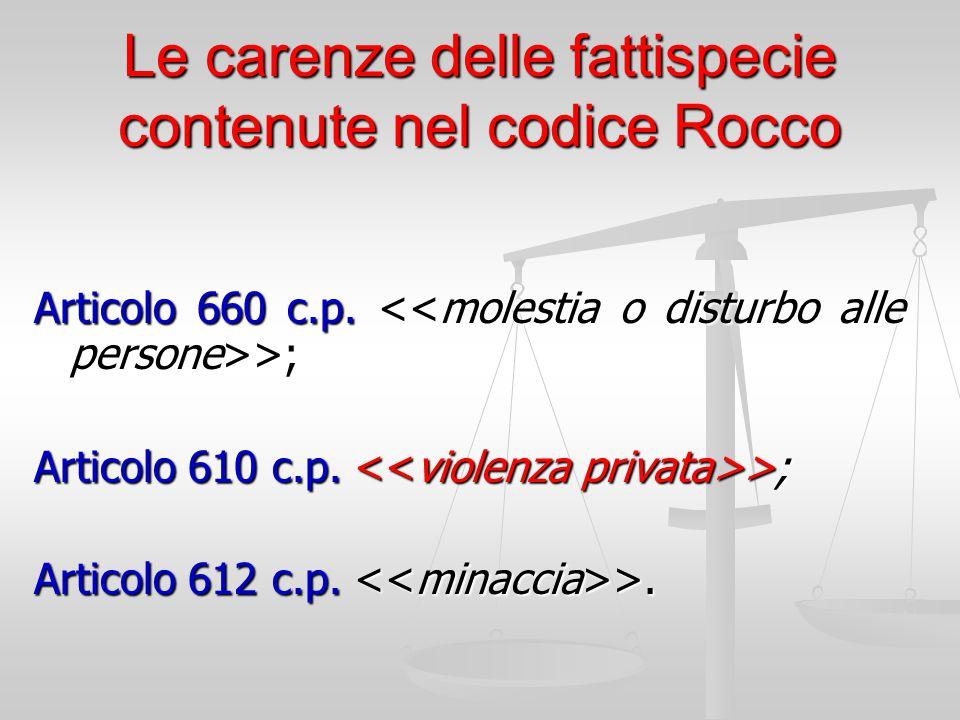 Le carenze delle fattispecie contenute nel codice Rocco
