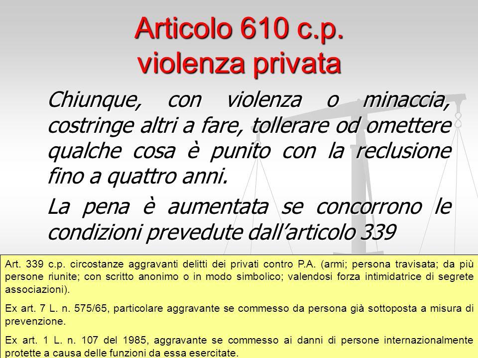 Articolo 610 c.p. violenza privata
