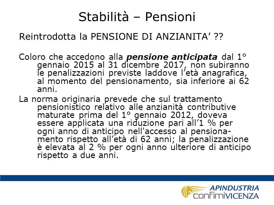 Stabilità – Pensioni Reintrodotta la PENSIONE DI ANZIANITA'