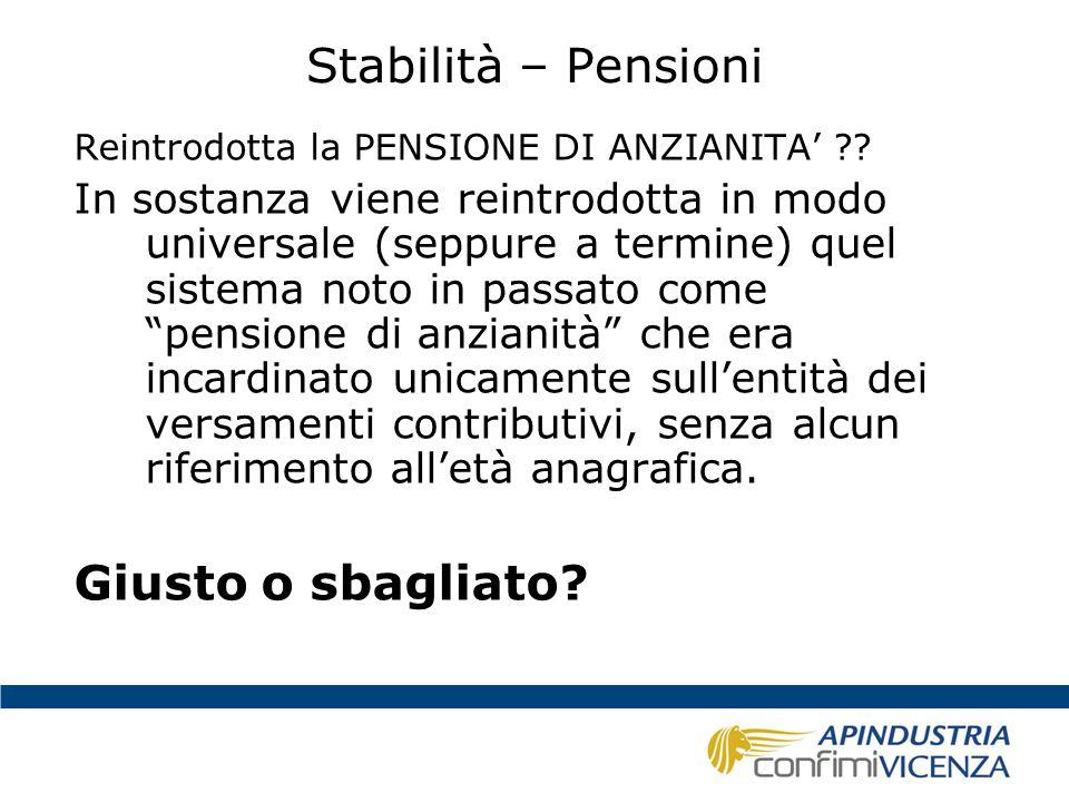 Stabilità – Pensioni Giusto o sbagliato