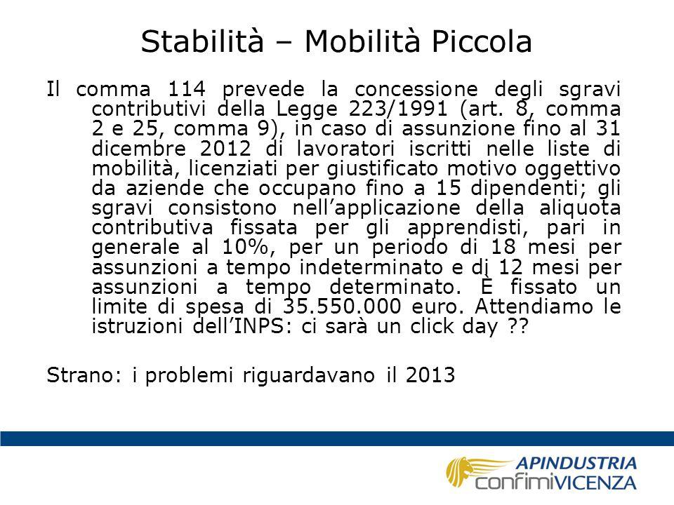 Stabilità – Mobilità Piccola