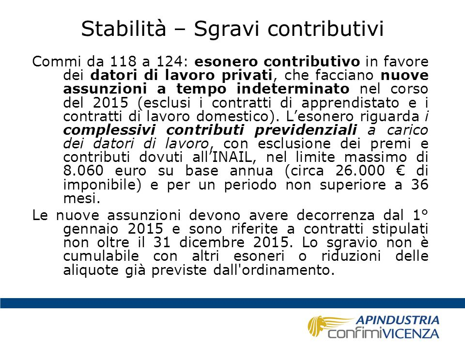 Stabilità – Sgravi contributivi