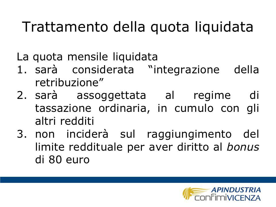 Trattamento della quota liquidata