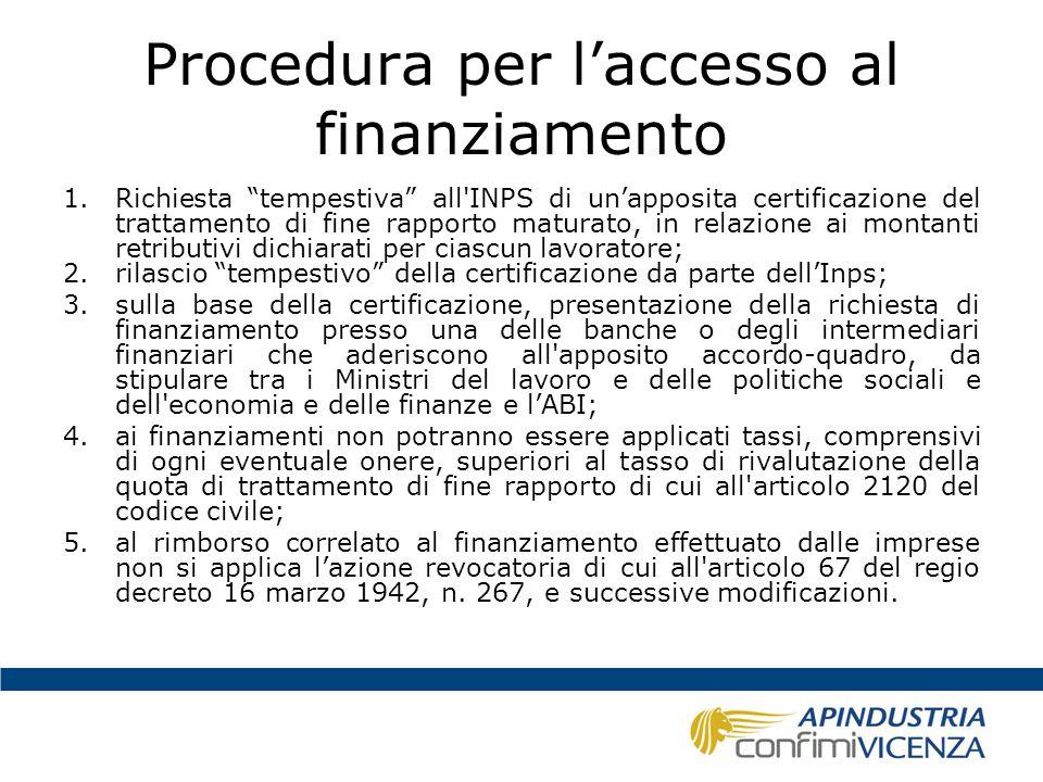 Procedura per l'accesso al finanziamento