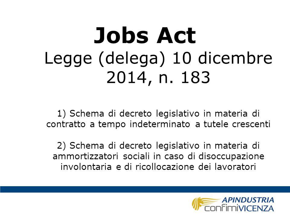 Jobs Act Legge (delega) 10 dicembre 2014, n